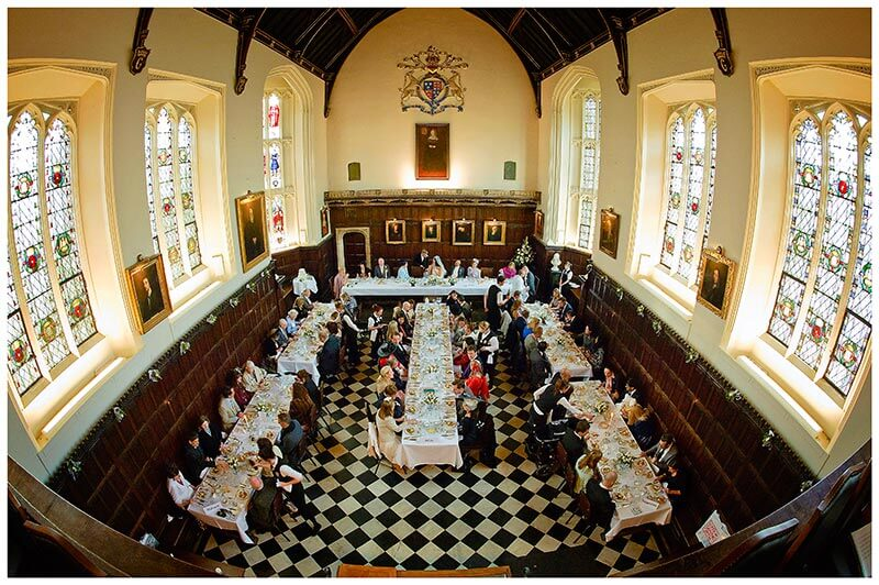 christs college main dining halll during a wedding dinner
