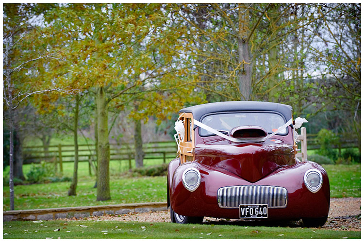 Tythe Barn Bicester Wedding hot rod car arrives