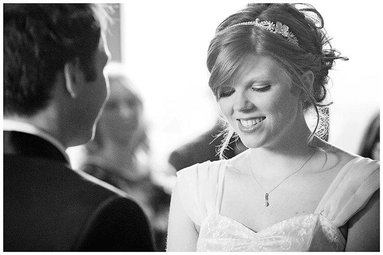 Tythe Barn Bicester Wedding bride during vows