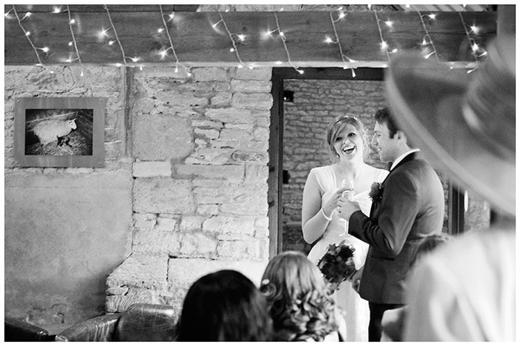 Tythe Barn Bicester Wedding guests welcome bride groom