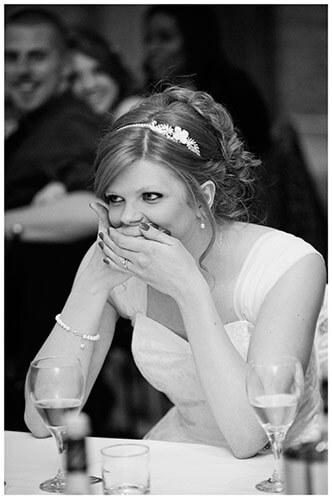 Tythe Barn Bicester Wedding bride surprised during speech