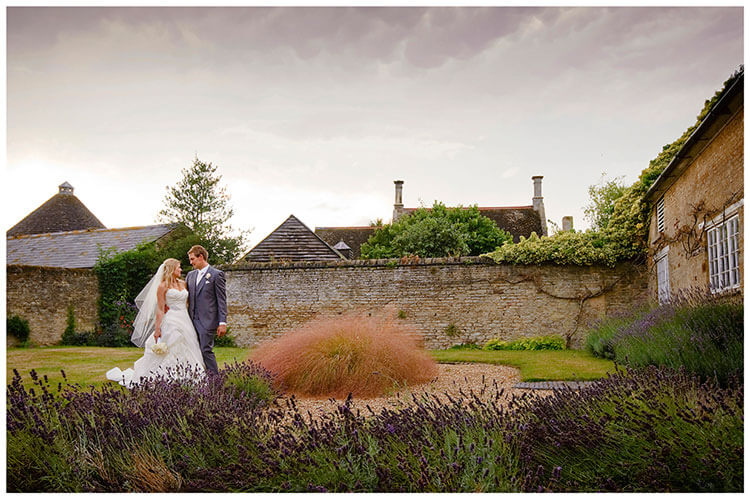 dramatic sky bride groom lavender