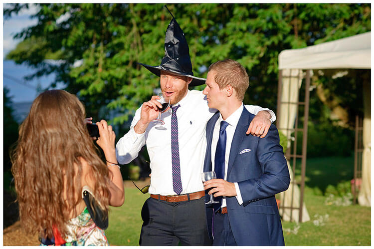 drinking with witches hat on
