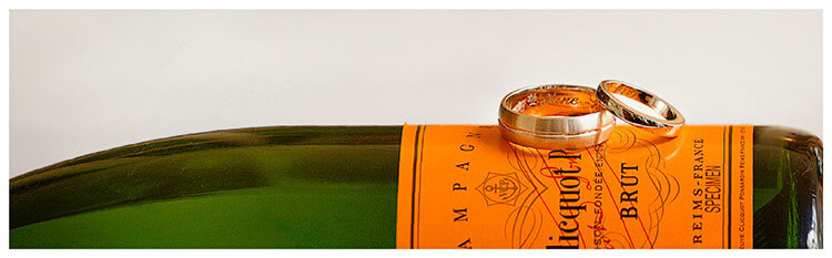 Events Champagne bottle wedding bands