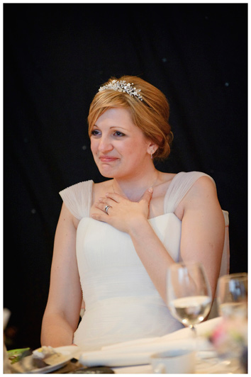 woburn sculpture gallery wedding tearful bride during speeches