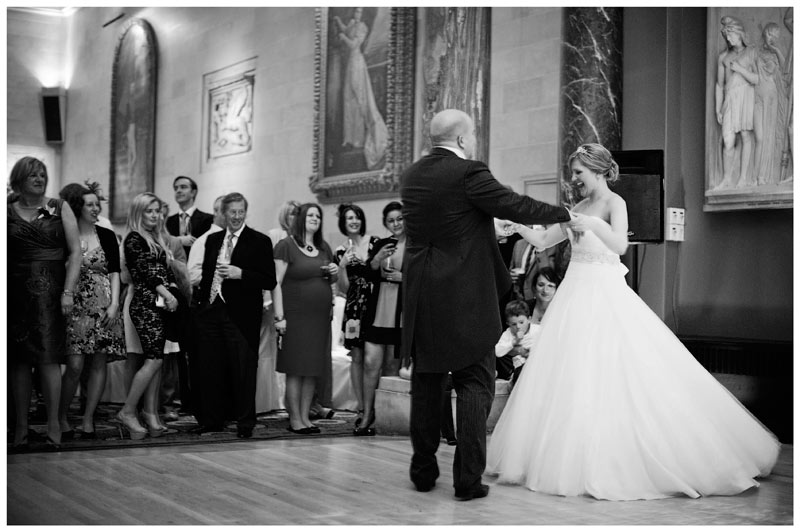 bride and groom first dance woburn sculpture gallery wedding