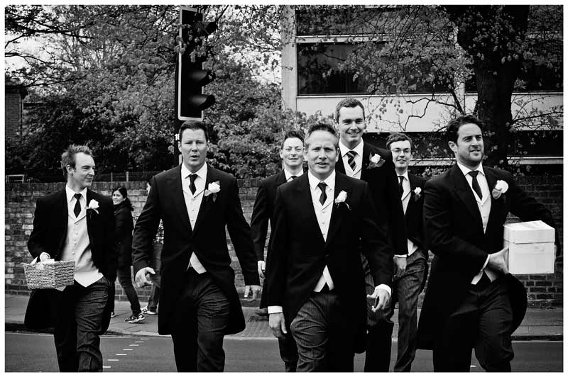 OLEM Church Wedding Cambridge grooms men around groom