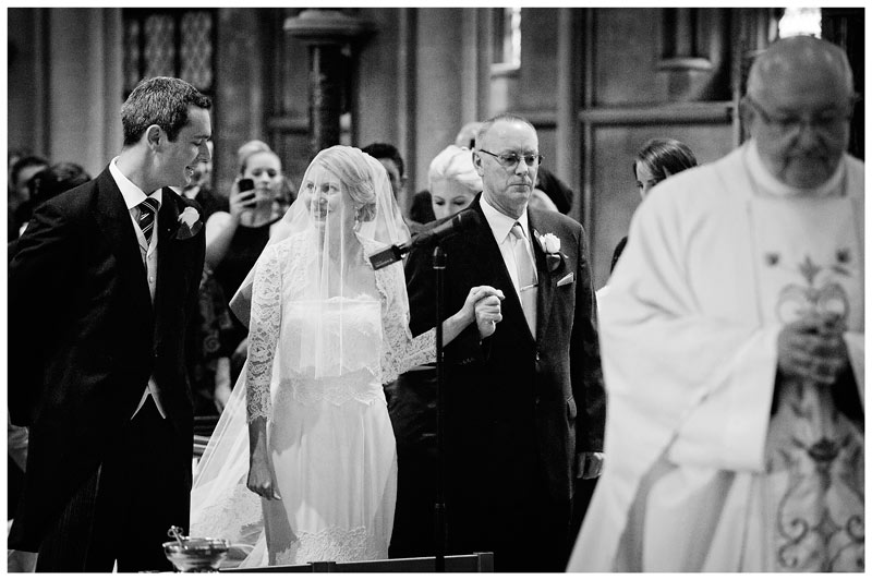 OLEM Church Wedding Cambridge bride arrives at alter