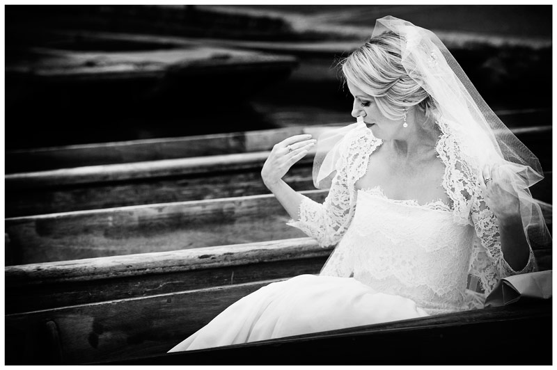 bridal portrait sitting on punt