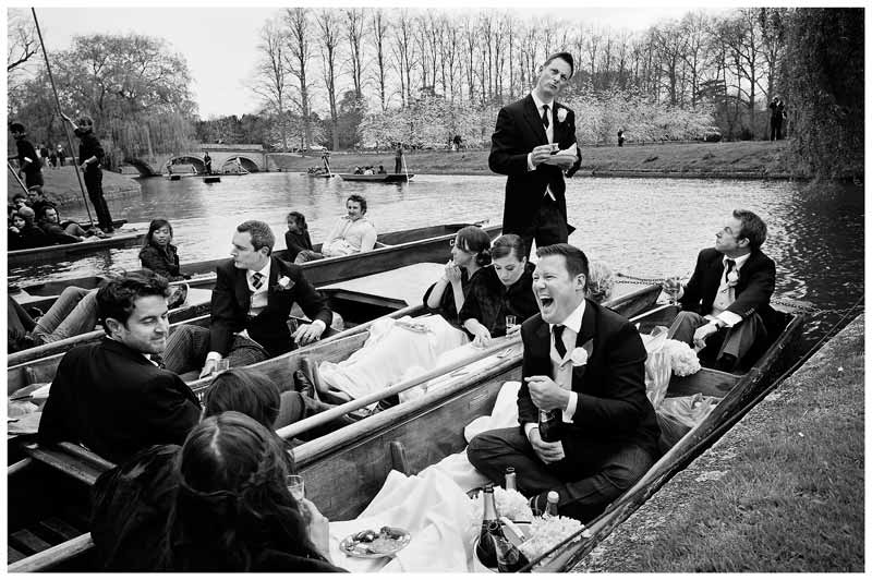 wedding party laughter on punts