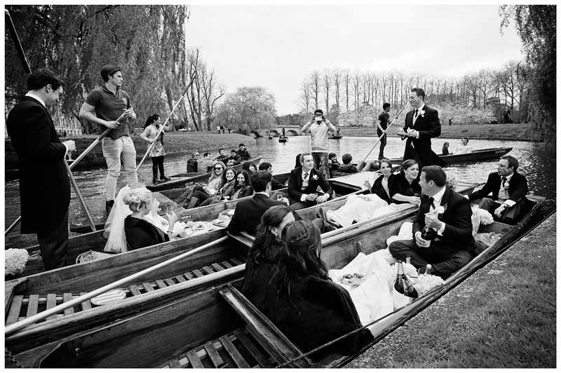 Homerton College Wedding wedding party picnic on punts