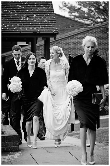 arriving at Homerton College wedding reception