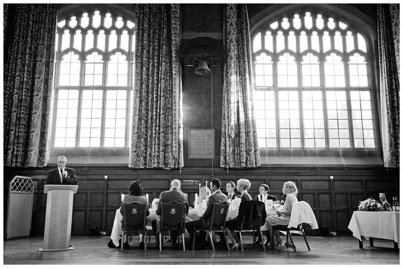 Homerton College Wedding speeches in the grand hall