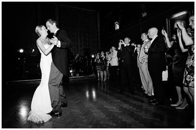 Homerton College Wedding first dance watched by smiling guests
