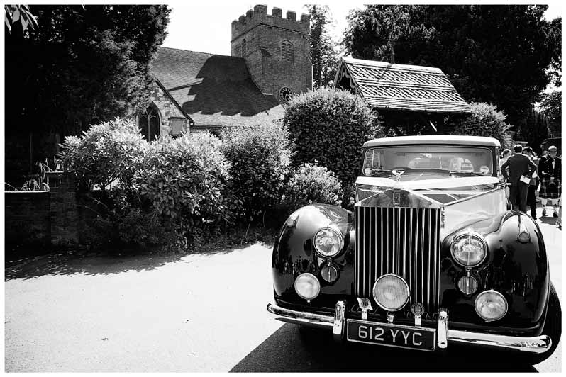 Great Fosters Wedding car outside church