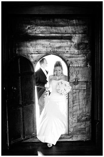 Great Fosters Wedding bride enters through wooden door