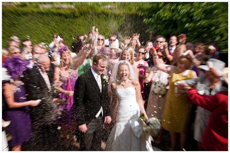 Great Fosters Wedding confetti zoom