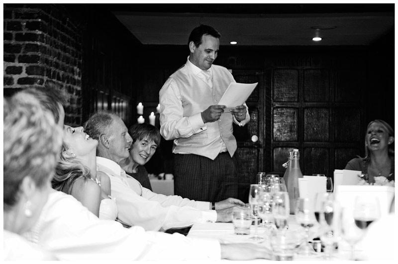 Great Fosters Wedding bride laughs at best mans speech