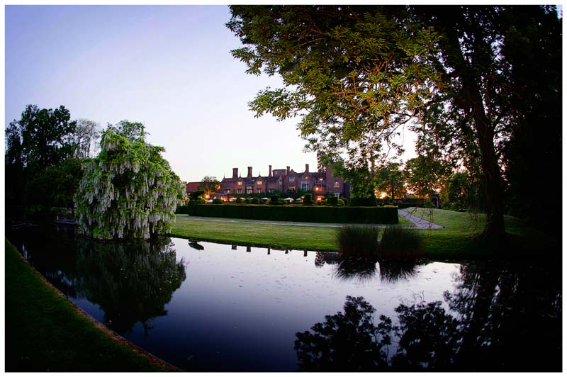 great fosters wedding venue at dusk