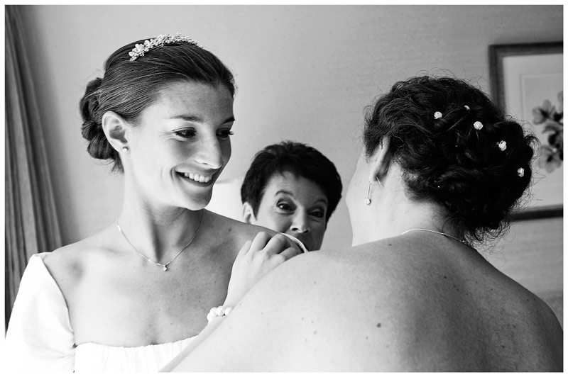 smiling bride preperations