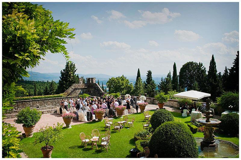 wedding ceremony on the verranda of Castello di Vincigliata