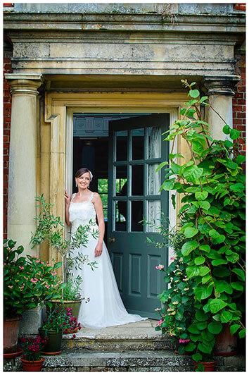 bride stood in door way at Island hall