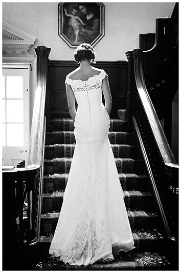 bride going up stairs
