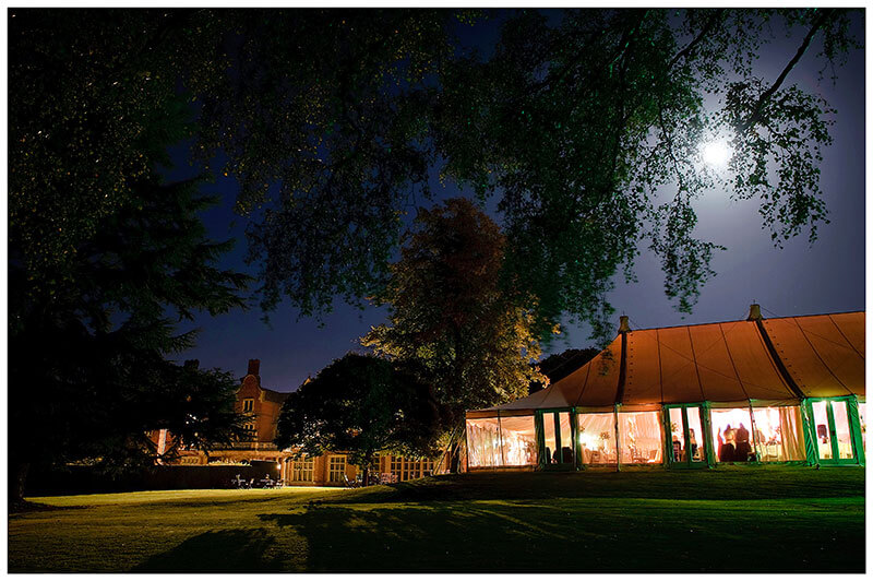 wedding marquee at Longstowe Hall during evening celebrations