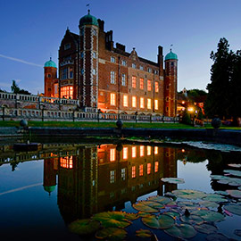 night time reflection of madingley hall
