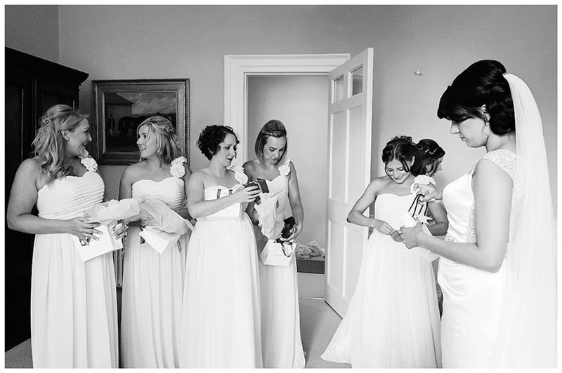 bride gives presents to brides maids
