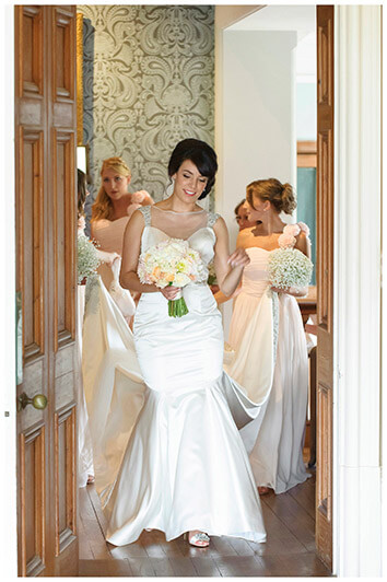 bridal party walking through door way