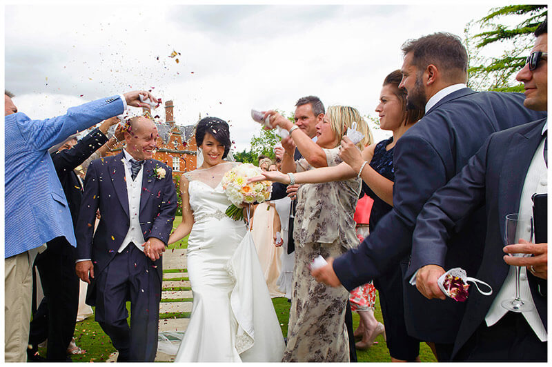 guests throw confetti