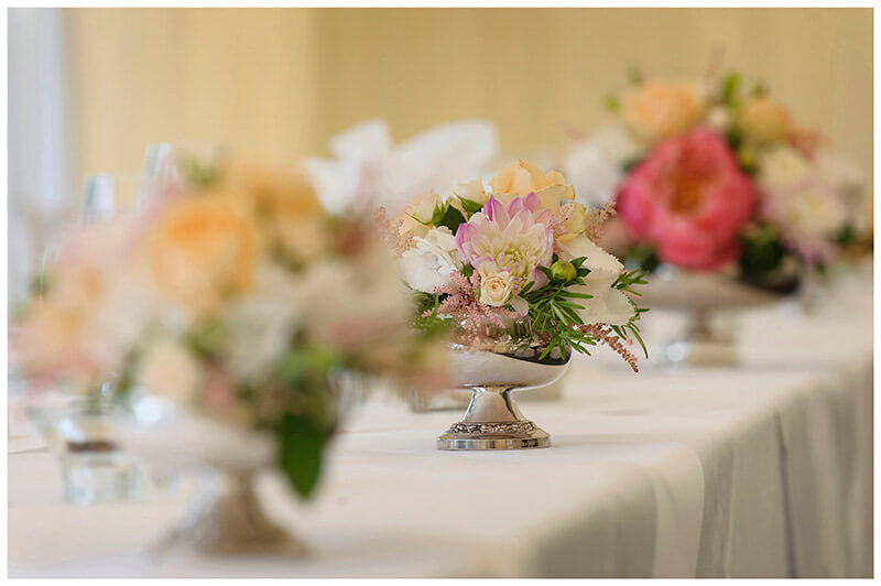 table flowers chippenham park wedding