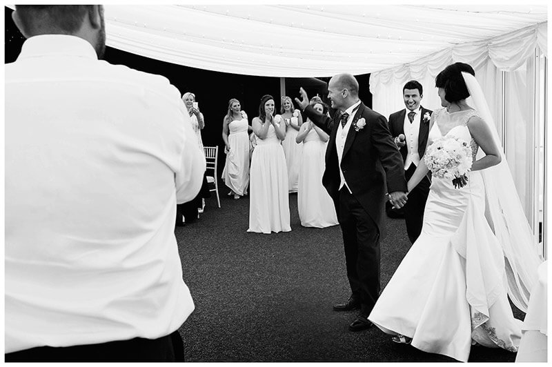 bride groom enter chippenham park marquee