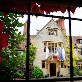 le manoir aux quat'saisons wedding venue through window