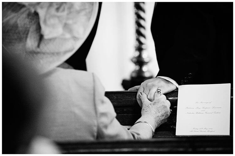Hartford Church Wedding grooms mother touches grooms hand