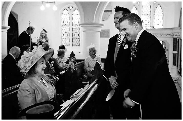 Hartford Church Wedding groom and mother laughing