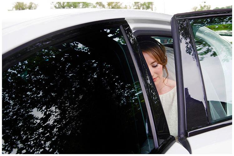 Hartford Church Wedding bride in car