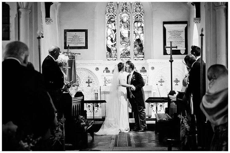 Hartford Church Wedding first kiss