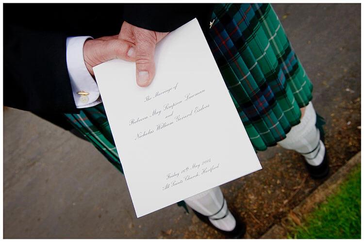 Hartford Church Wedding order service green kilt