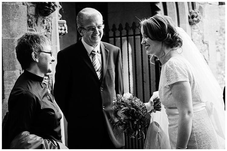 Hartford Church Wedding bride with vicar