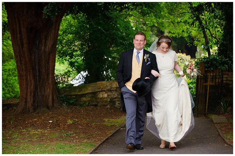 Hartford Church Wedding bride groom walking arm in arm