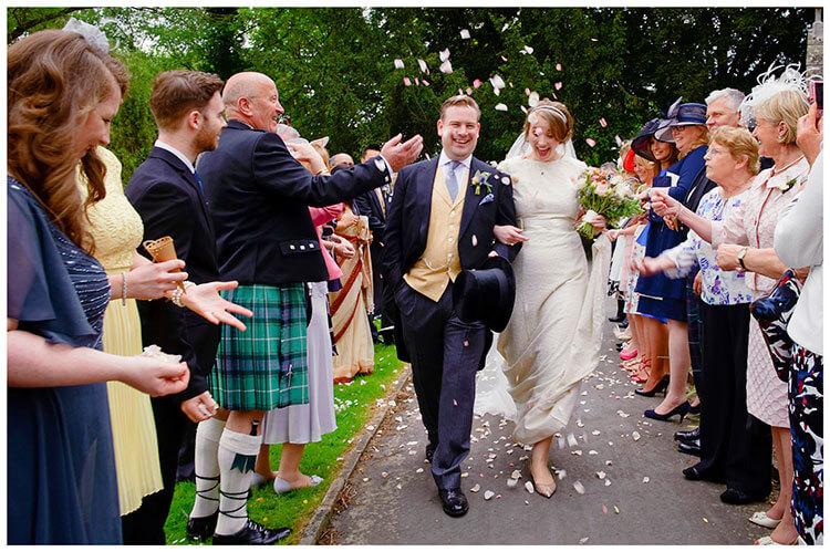Hartford Church Wedding guests throw confetti