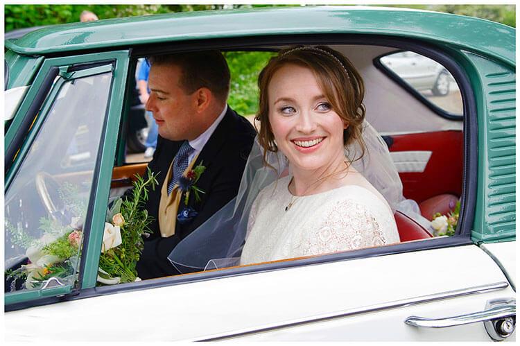 Hartford Church Wedding bride groom in car