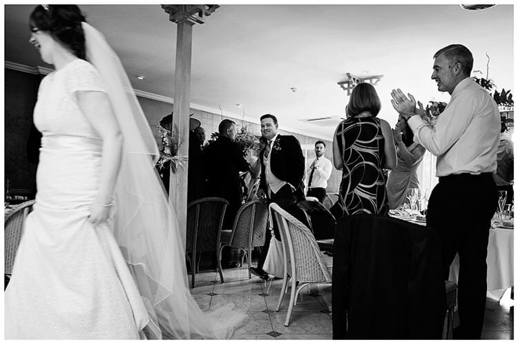 Old Bridge Hotel Wedding bride groom enter wedding breakfast room