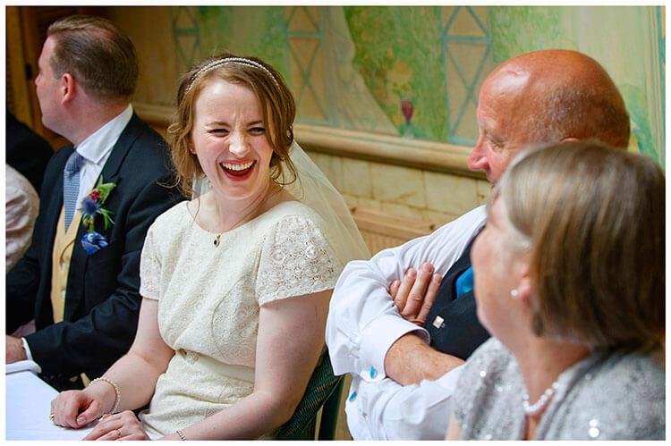 Old Bridge Hotel Wedding laughing bride