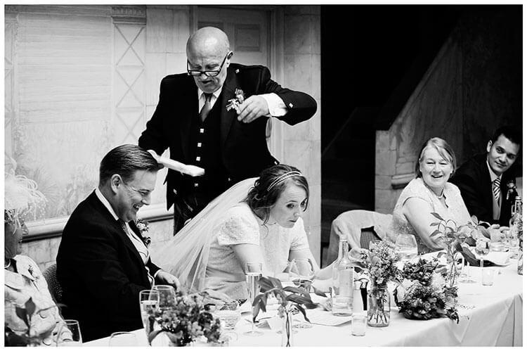 Old Bridge Hotel Wedding bride ducks during speeches