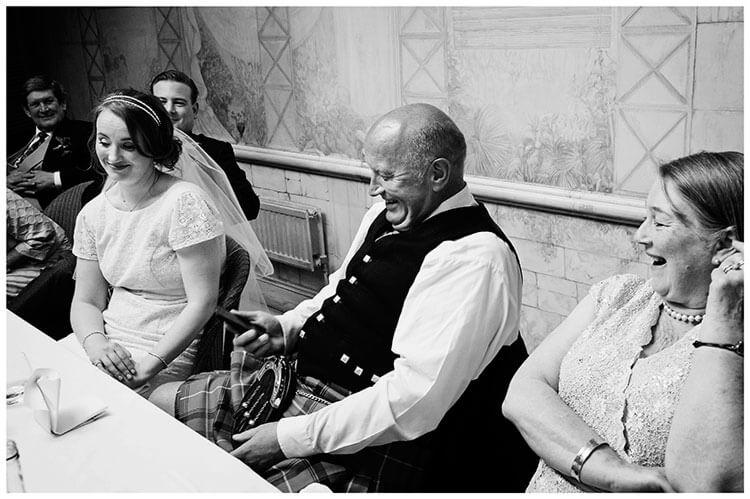 Old Bridge Hotel Wedding father bride turns off phone during best mans speech
