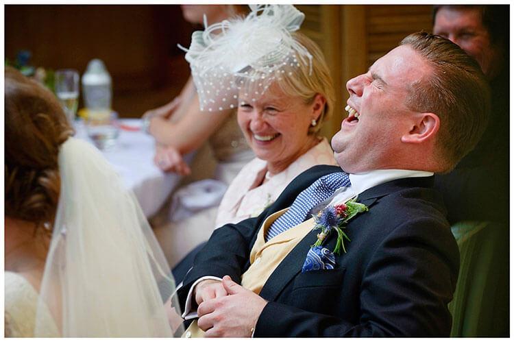 Old Bridge Hotel Wedding groom laughter during best mans speech