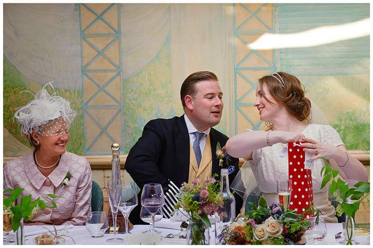 Old Bridge Hotel Wedding bride groom open presents